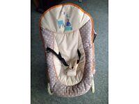 Baby bouncy chair, 3 height adjustments, detachable play bar, three stablilser feet or rocks freely
