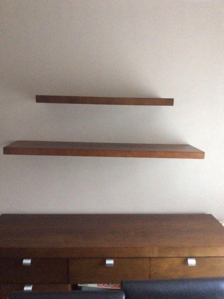 2 Walnut coloured shelves