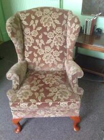 Parker Knoll Embossed Fabric Wing Backed Armchair with Solid Wood Legs - Very Good Condition