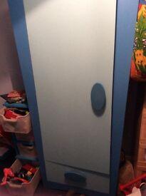 Blue IKEA mammut wardrobe and chest of drawers