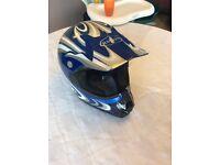 Motor cross helmet and boots