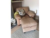 Leather sofa, chair and matching footstool. Soft Aniline leather.
