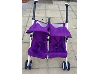 Silver Cross Pop Duo double twin dolls toy pram pushchair purple