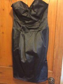 Satin black/blue Corset strapless dress miss selfridge size 6-8