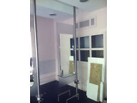 Salon Mirrors on Frosted Glass