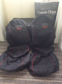 Audi Front Car Seat Covers (Black & Red Piping)