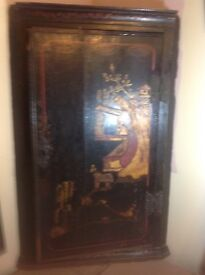 Old Chinese painted corner cupboard, floor standings or wall hung .