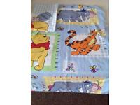 Pooh bear single quilt cover and pillow case , very good condition .