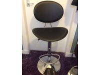 2 Real Leather Black and Crome Bar Stools