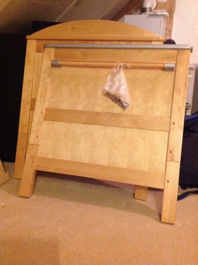 BEECH COT BED IN GOOD CONDITION WITH MATRESSES