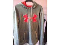 Under armour hooded top size large exc cond grey and red.