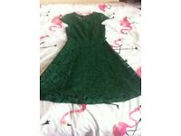 Emerald green lace cocktail dress size 8 dorothy perkins