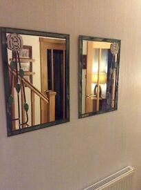 Two charles rennie macintosh style stained glass mirrors