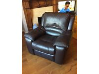 **** REDUCED **** DFS Chocolate Leather Electric Recliner Armchair