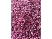 Large shaggy pile rug. 160x230cm. Raspberry. Trip hazard after back injury forces sale.
