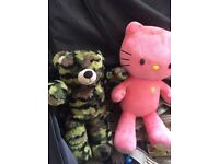 Soft toy hello kitty and teddy bear