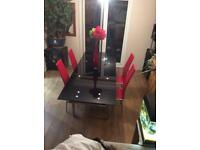 Black Glass Extendable Dinning Table & 6 Red Chrome Chairs