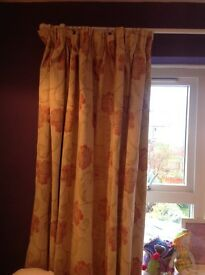 Curtains bought from dunelm cream/beige colour with rust coloured floral 84 inch widthx56inch drop