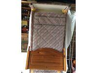 Single bed, divan base & pine headboard.