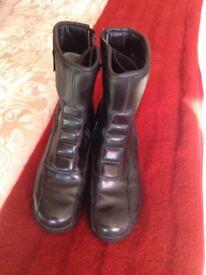 Ladies leather biker boots