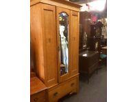Antique mirror fronted wardrobe