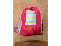 Girls shopping mad sleeping bag & pillow in rucksack