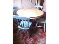 Duck Egg Round Farmhouse Dining Table 4 Chairs Shabby Chic Distressed for Upcycling / Can Deliver