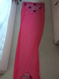 SHAWL/STOLE, LOVELY BRIGHT PINK COLOUR, PLAIN EXCEPT FOR PATTERN BOTH ENDS.