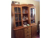 Lovely pine dresser available for sale. Good condition with glass display shelves and large cupboard