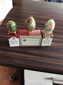 Hand Painted Oriental and Victorian Decorative Eggs with Stands