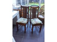 Mango solid wood dining chairs. Solid pine pew like storage seat