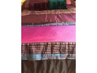 Double bedset,plum with matching lamps etc