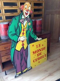 Vintage Industrial Wooden Clown Circus Sign