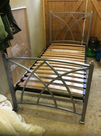 Feather and Black silver metal single bed frame £75