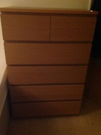 IKEA Malm 2 over 4 chest of drawers in oak vaneer