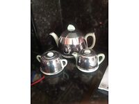 Vintage Duck egg blue teapot set with silver covers