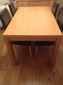 Next dining table and 4 leather chairs