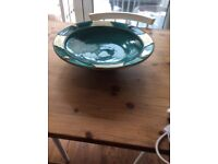 Handmade bowl, green pottery with brass shapes
