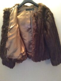 Short faux fur jacket from Next - Size 12