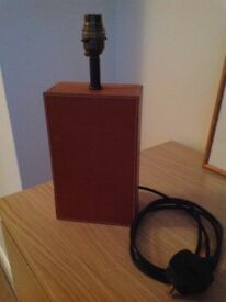 M&S CONTEMPORARY RECTANGULAR TABLE LAMP BASE ( tan leather