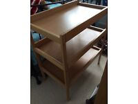 Wooden changing table with two shelves