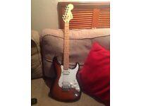 Squier Double Fat Strat guitar.