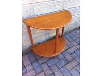 Small mid century two tier half moon console table