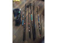 5 rods,net ,2 reels,seat, jacket