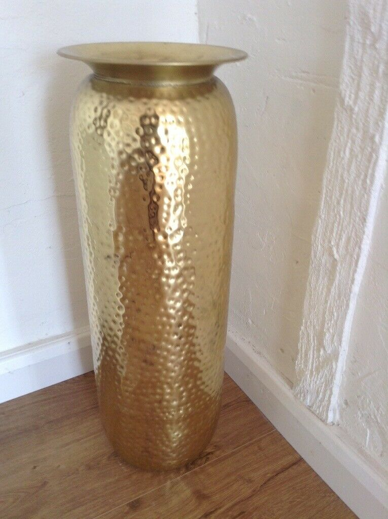 Reduced Price Extra Tall Gold Hammered Metal Floor Vase
