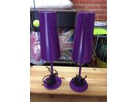PAIR OF GORGEOUS PURPLE IKEA LAMPS