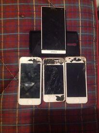 1x Sony Experia, 2x iPhone 5, 1x iPhone 4