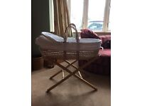 White trim Moses Basket and stand