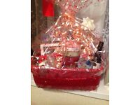 Lovely gift set lots of different things chocs ,wine ,bath products ,silver necklace