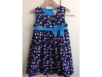 Maggie and Zoe cotton summer dress, navy blue with Eiffel Tower pattern, size 4-5/110 cm.